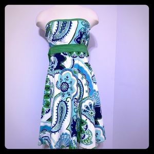 My  Michelle Paisley Print  Strapless Tulle Dress